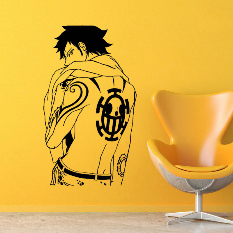 Cartoon vinyl wall decal design stickers decoration anime pirate king handsome character wall stickers boy room decoration HZW10-in Wall Stickers from Home & Garden