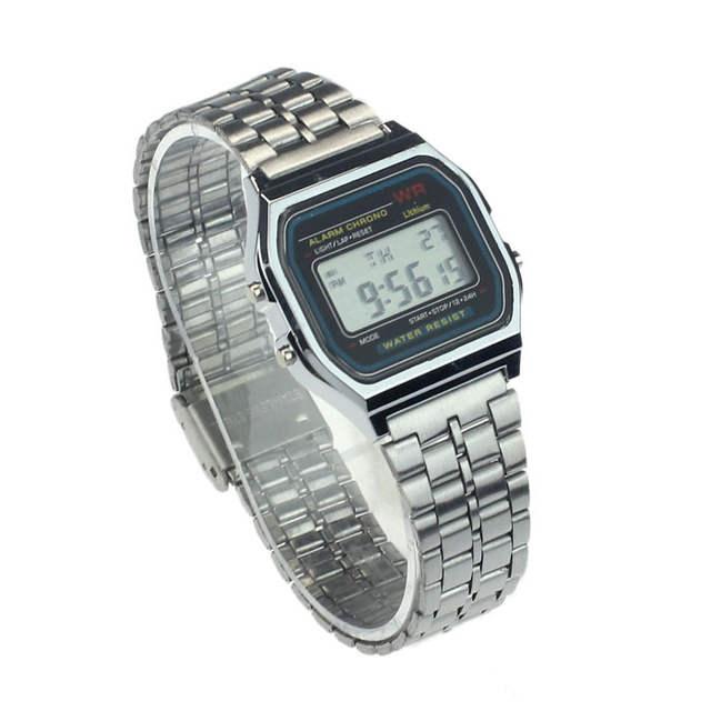 4723acf3d7e placeholder Relógios de Homens de negócios Casuais Relógio de Aço  Inoxidável Digital Relógio De Pulso Do Vintage