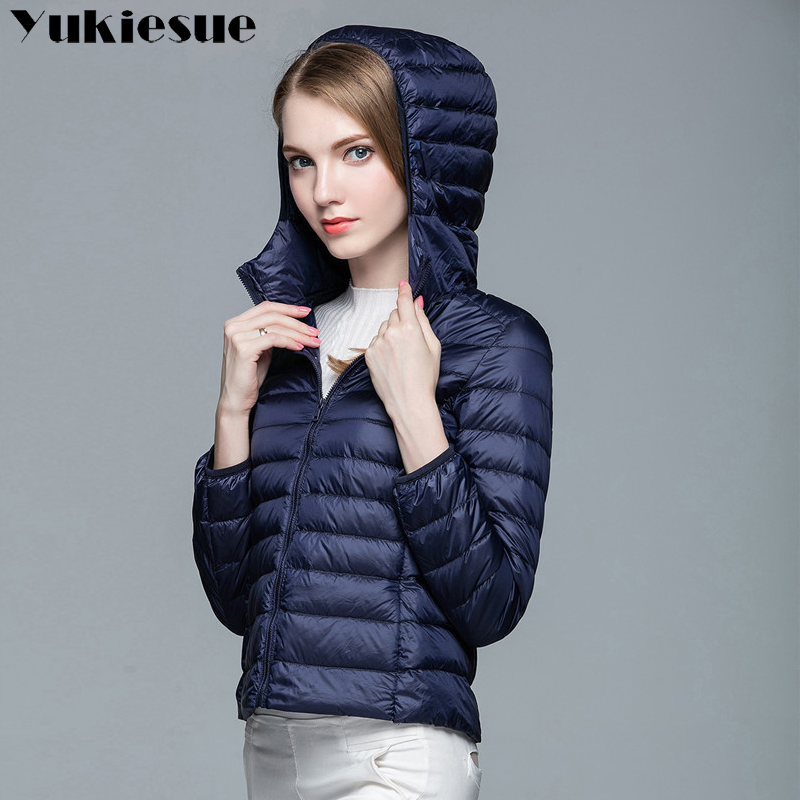 women light   down   jackets hooded winter duck   down   jackets women slim long sleeve parka zipper   coats