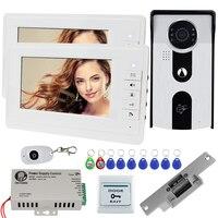 7 TFT проводной видеодомофон Системы комплект RFID Доступа Камера ИК Ночное видение с видео дверной звонок монитор + электронный замок EM Reader