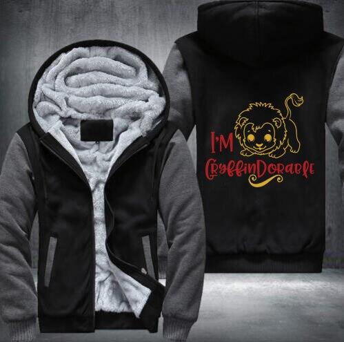 Hiver Quatre écoles de sorcellerie Gryffondor crête Mignon conception Casual Épaissir hoodies USA Glissière taille S-5XL