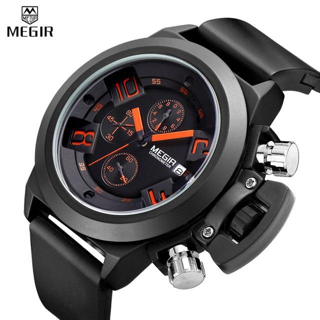 Reloj deportivo cronógrafo MEGIR reloj creativo de cuarzo militar para hombre reloj de pulsera impermeable reloj Masculino