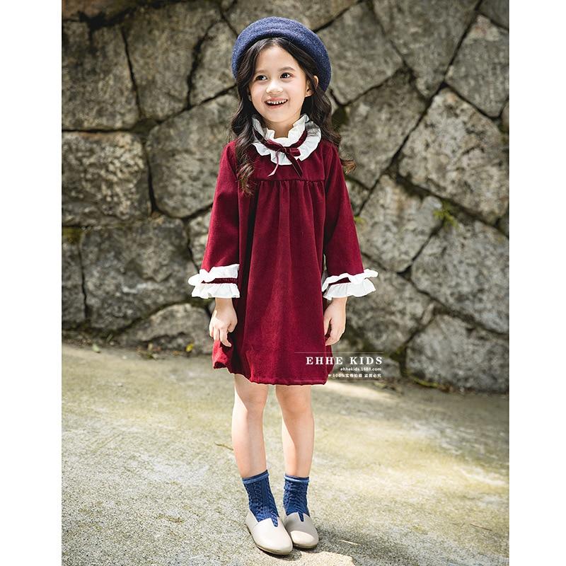 все цены на 2018 autumn new girls retro stand collar wood ear palace wind princess dress long sleeve temperament children's dress