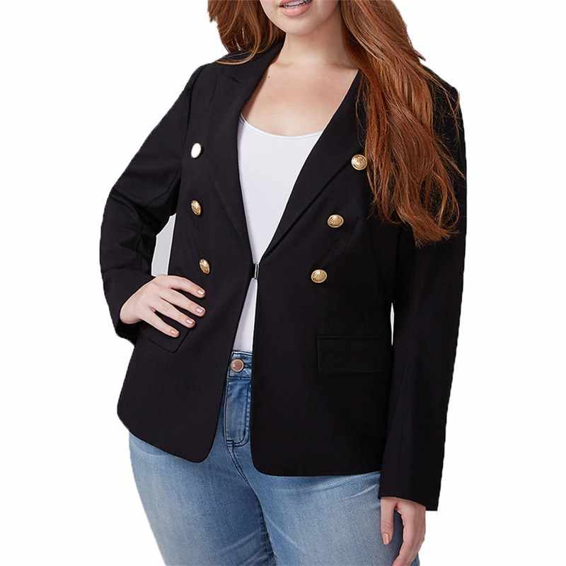 df88cfff458 Plus Size Western Style fashion solid color double-breasted long sleeve  3XL-7XL large