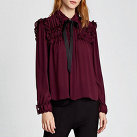 SESOAF Sexy Ruffle Wine Red Chiffon Blouse Women Transparent Bow Ribbon Pearls Button Blouse Shirt 2018