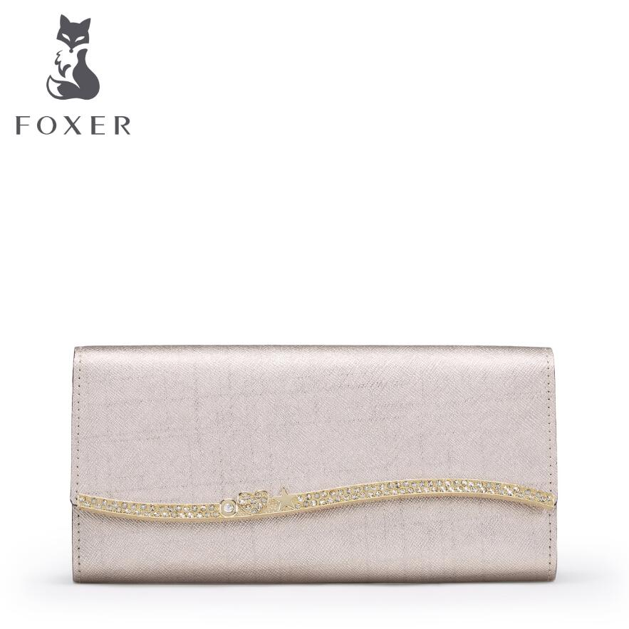 ФОТО FOXER high quality fashion luxury 2017 new long section of the three fold folding folder leather bag leather, women's well-known