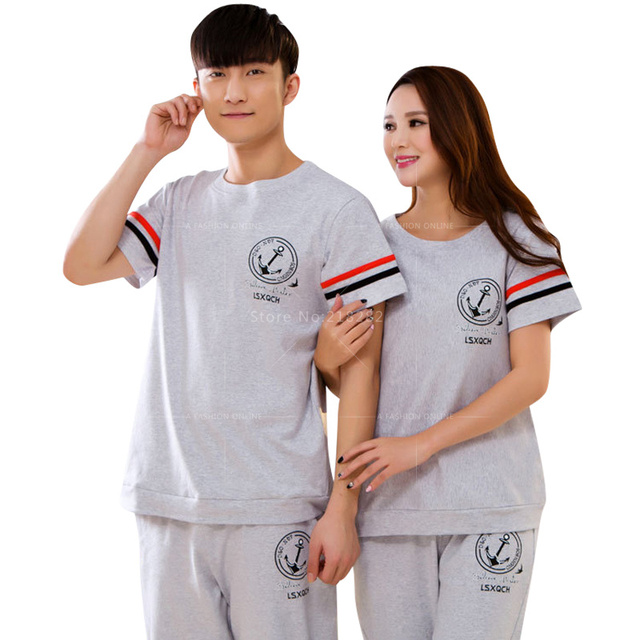 Sales! New Summer Cotton Men/ Women Sleepwear Lovers Pajamas Sets Sleeping Pajamas set for Couple pijama Gift for friend