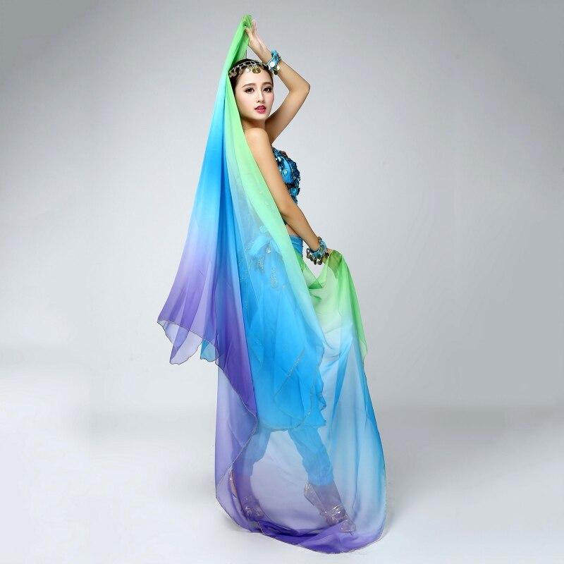 6 Colors Belly Dance Veil 220cm*120cm Silk-like Bollywood Dancing Scarf Shawl