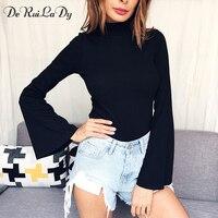 DeRuiLaDy 2017 Women Autumn T Shirt Sexy Slim Crop Top Flare Sleeve Long Sleeve T Shirts