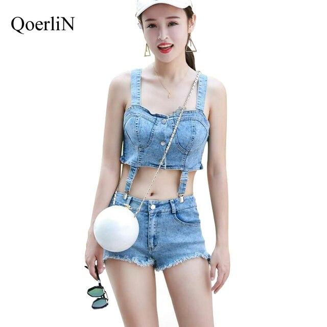 a836353216d56 QoerliN Women Cropped Top Shorts Jeans Set Woman Criss-Cross Summer 2  Pieces Sexy Tracksuits Girls Suit Set Street Wear Female