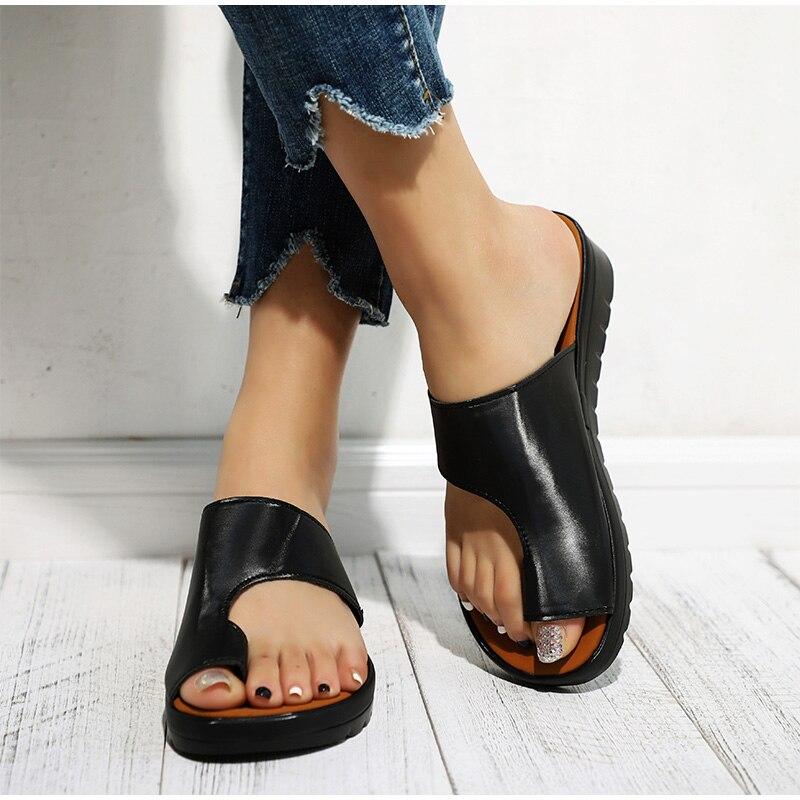 HTB1AWbLaBWD3KVjSZFsq6AqkpXaq MCCKLE Women Comfy Plain Shoes Flat Platform Ladies Casual Big Toe Foot Correction Sandals Orthopedic Bunion Corrector Flip Flop