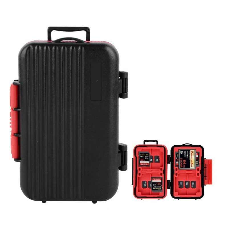 Memory Card Case Box Storage Holder SD Micro SD TF  Micro SD CF Hard Bag Waterproof suitcase shaped 4CF+8SD+12TF 24Cards