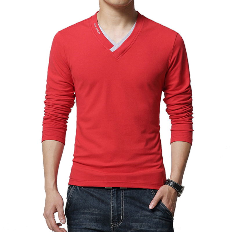 2017 autumn casual t shirt men fashion striped v neck long for Best casual t shirts