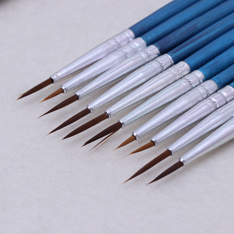 10Pcs Nylon Hair Artist Paint Brush Acrylic Watercolor Round Fine Hand Point Tip