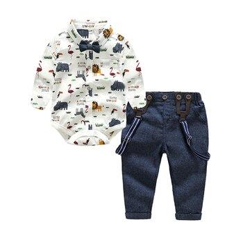 Ropa para niños tem Doger, ropa de caballero para bebés, trajes con pajarita, camisa, peleles + monos, 2 uds, Body para niños pequeños, trajes para fiestas infantiles
