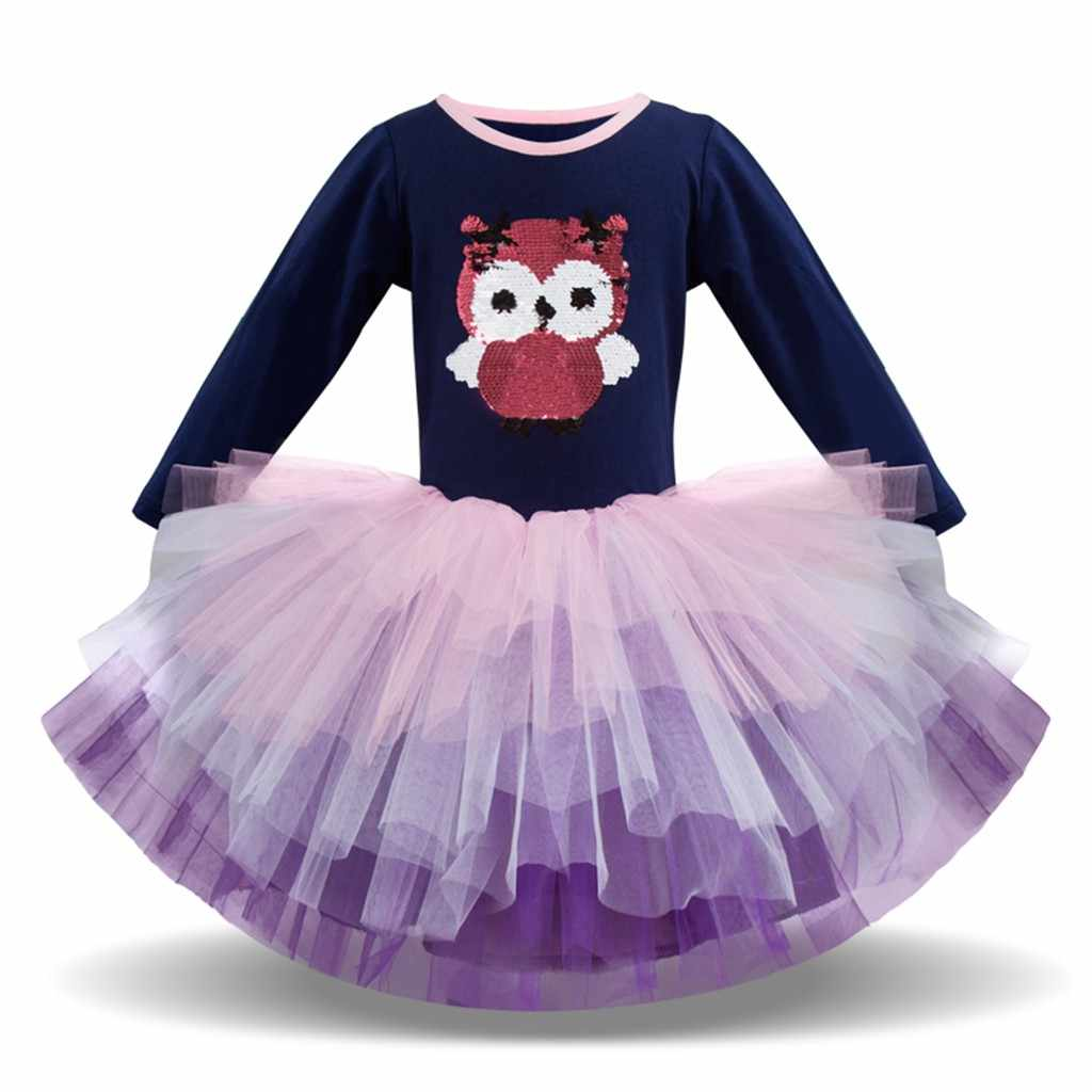 ARLONEET Girls Clothing Dresses Casual Dress Long Sleeve Spring Children's Long Sleeve Cartoon Owl Print Mesh Dress Tutu Dress