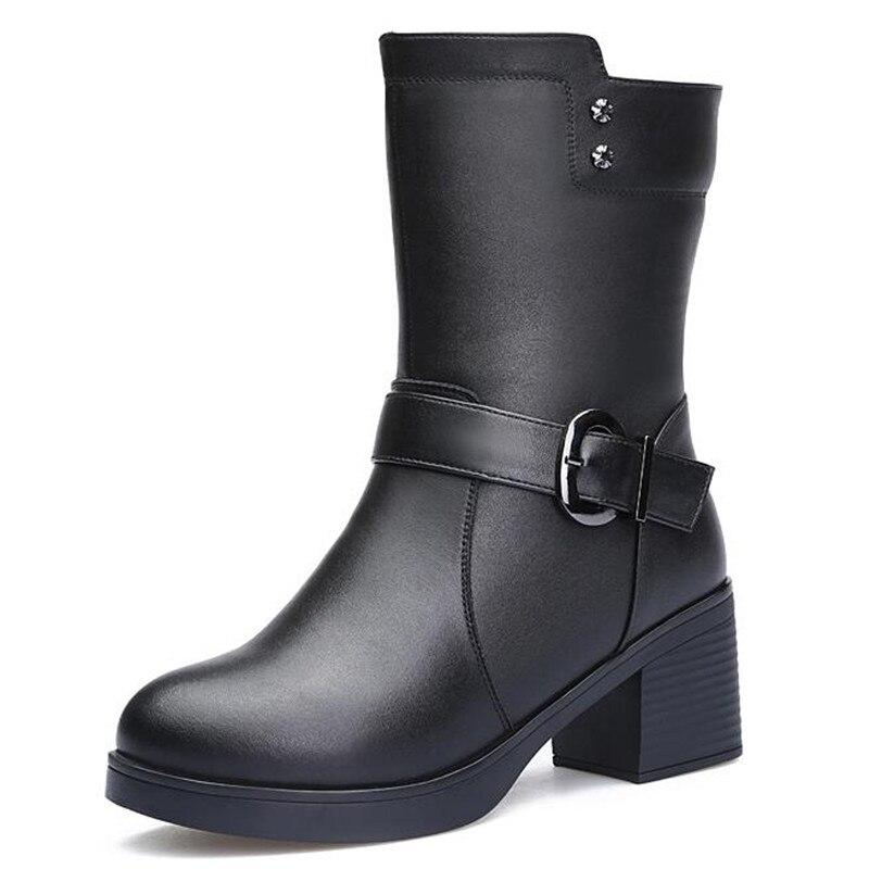 Laine Noir Chaud Avec Bottes Talons Épais 2018 Cuir Véritable Date Confort D'hiver Moyen Chaussures Femmes En Hauts Neige CedxBQroW