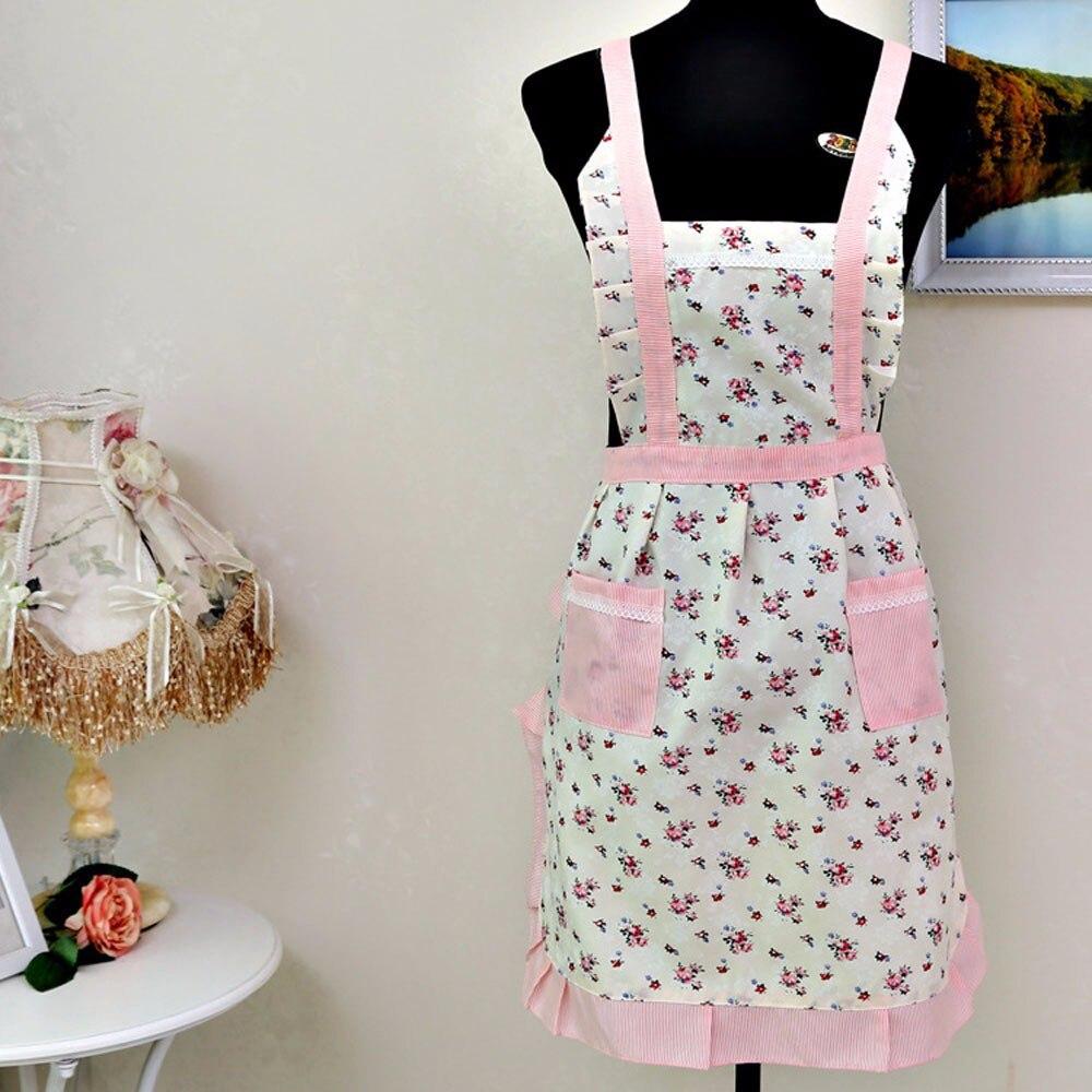White apron ladies - Pink Floral Fresh Gift For Mother Apron Women Kitchen Restaurant Anti Dirty Apron Bib With