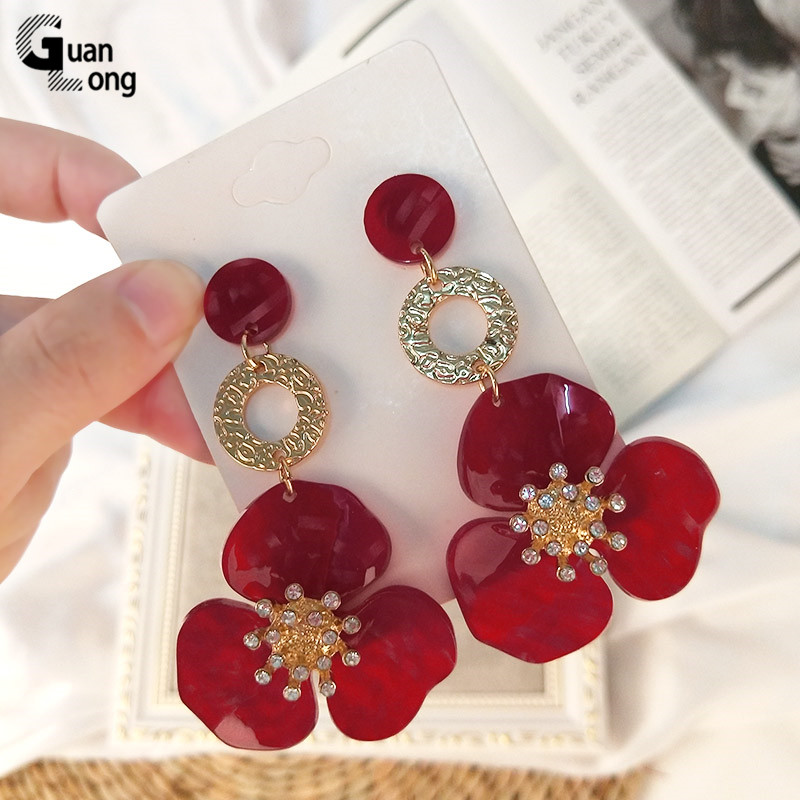 Guanlong Vintage New Fashion Flower Resin Long Big Drop Earrings Women Metal Dangling Crystal Acrylic Earrings Jewelry Brincos|Drop Earrings|   - AliExpress