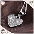 Good Quality Full Stone Paving Shining Heart Design Silver Jewelry 925 Sterling Silver Flat Heart Pendant
