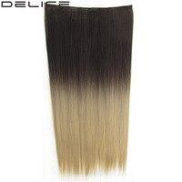[DELICE] 24 Zoll frauen Clip In Einem Stück Lange Seidige Gerade Synthetische Dip Dye Ombre 5 Clips Haarverlängerungen