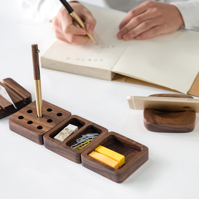 Walnut Wood Desktop Stationery Storage Box Decoration Wool Office Desk Business Card Box Pen Cell Phone Holder Shelf