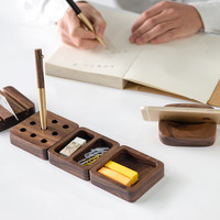 Walnut Wood Desktop Stationery Storage Box Decoration Wool Office Desk Business Card Box Pen Cell Phone
