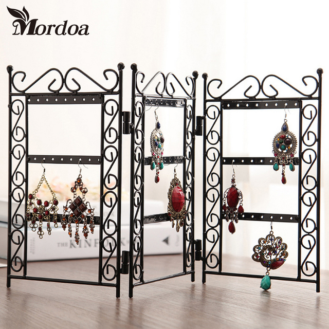 Mordoa 40pcs Dangle Earrings Jewelry Black Metal Display Stand Holder Simple Wrought Iron Display Stands