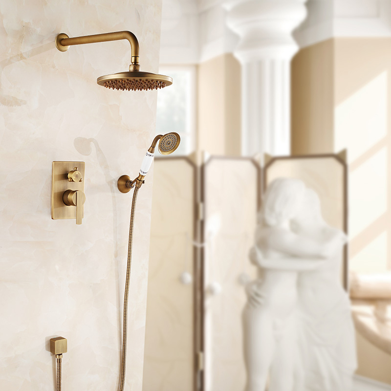 Luxury Wall Mounted Antique Oil Rubbed Bronze Shower Mixer Faucet ...
