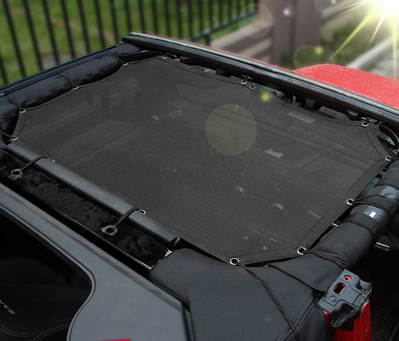 Jeep Wrangler Durable Mesh Sun Shade Half Top Cover Provides UV Protection for Jeep Wrangler JK JKU & Unlimited 2 Door and 4-Door (2007-2017)