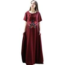 2019 Vestido Mulheres Verão Maxi Vestidos de Algodão de Manga Curta Vestido De Camisa de Linho Bordado Agradável Do Vintage Robe Longue Femme Ete 3 cores