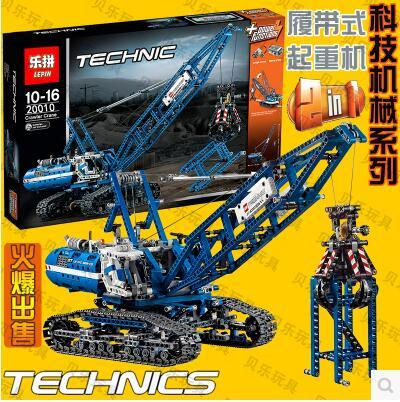 New Lepin 20010 Crawler cranes Toy building blocks 1401pcs Technic Bricks Gift 42042 boy power motor Battery truck kids blue ювелирное изделие 20010