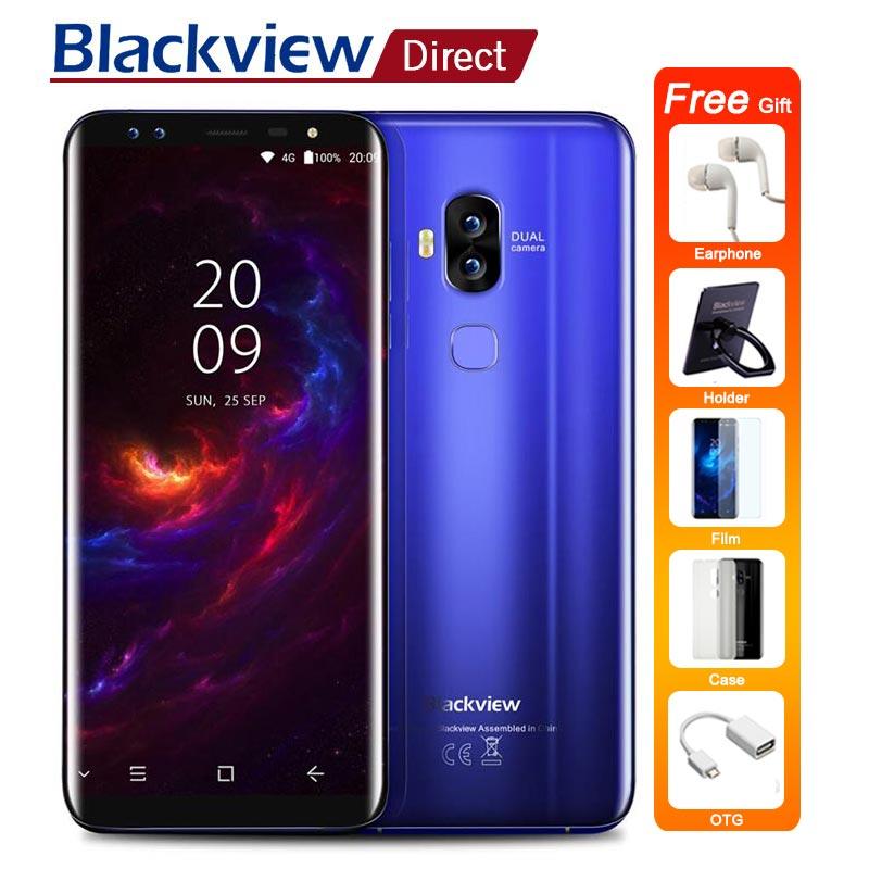 Blackview S8 Smartphone 5.7 18:9 Aspect Ratio 4g 64g MT6750T Octa Core 4 Caméras 2*(13 m + 0.3 m) d'empreintes digitales OTG 4g Mobile Téléphones