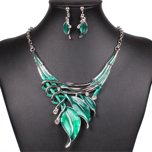 Fashion Green Enamel Jewelry Sets Necklace Earrings Set