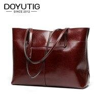 DOYUTIG Women's Fashion Genuine Leather Big Handbag Lady Classical Simple Style Large Totes With Many Colors Female Big Bag F554