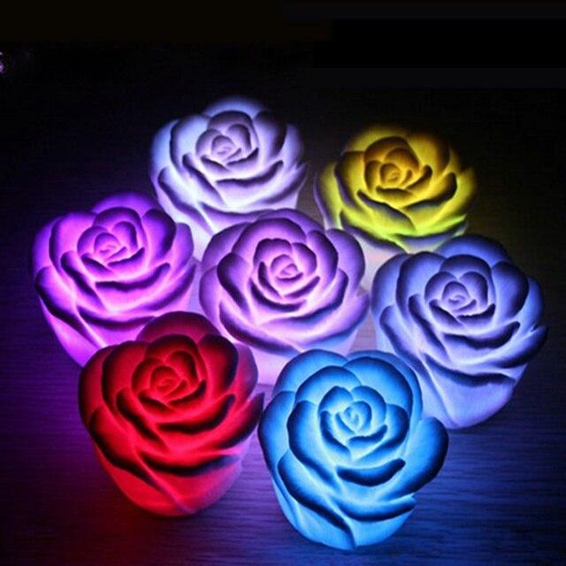 12pcs Romantic LED Rose Night Light Christmas Light Automatic Change Color Children's Toys Night Light Luminarias