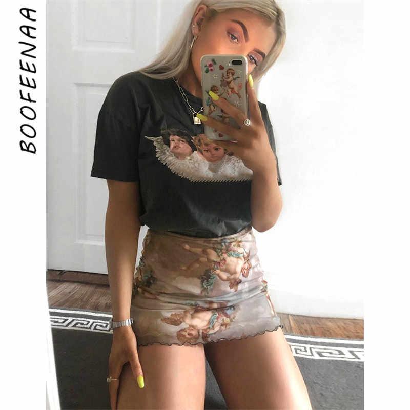 73387b290a BOOFEENAA Sexy Angel Print Mesh Mini Pencil Skirt Summer Spring 2019  Vintage Kawaii Elastic High Waist