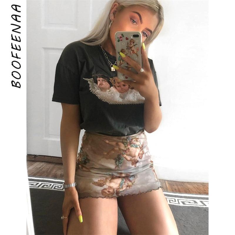 BOOFEENAA Sexy Angel Print Mesh Mini Pencil Skirt Summer Spring 2019 Vintage Kawaii Elastic High Waist Skirts Womens C67-G87