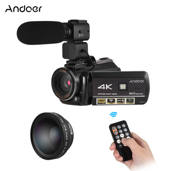 Andoer Professional Video Camera 4K Camara Profesional Camcorder w Extra 0.39X Wide Angle Lens + Lens Hood +External Microphone e services logo