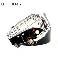 New Fashion Mens Pu Leather Belts With Novelty Caravan Camper Van School Bus Peace Sign Car