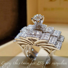 Boho Men Female Crystal White Round Ring Set Brand Luxury Promise Silver Engagement Vintage Bridal Wedding Rings Women