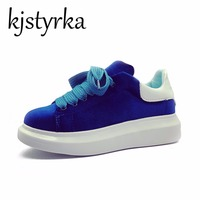 Kjstyrka Thick Heel White Blue Platform Women S Casual Shoes Woman Low Heels Lace Up Female