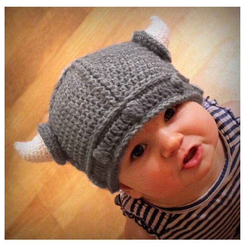 New Adorable Children Handmade Crochet Winter Warm Hat Viking Horns Hat Knitted Hat Cute Children Knit   Beanies