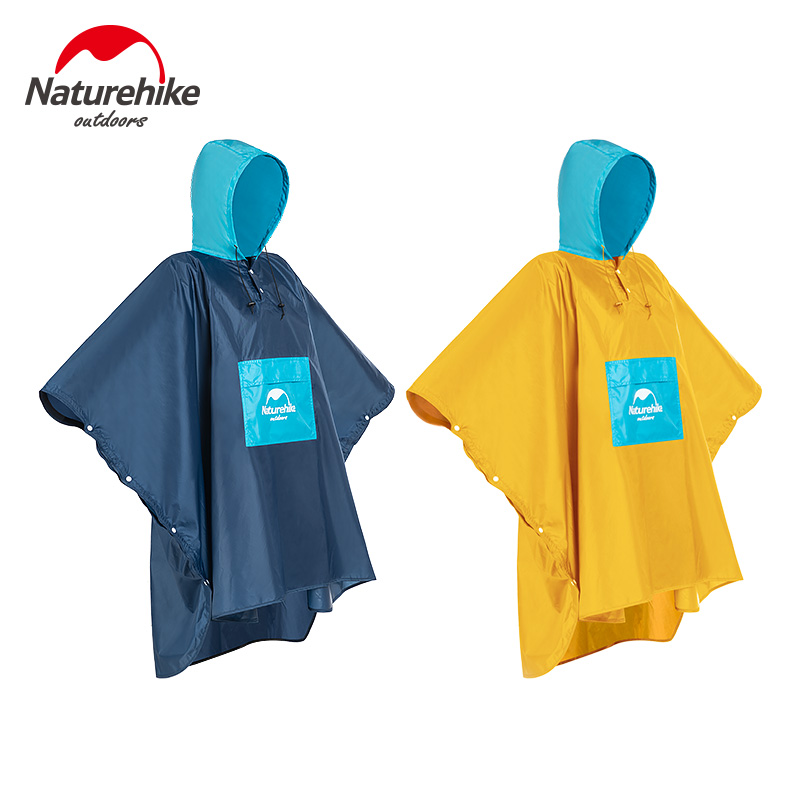 Naturehike Outdoor Hiking Poncho Portable Raincoat Ultraight Rainproof Windproof Climbing Poncho With Backpack Rain Cover