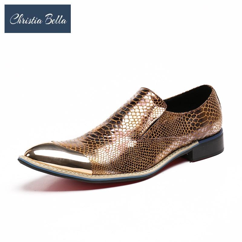 Christia Bella mode or échelles bureau en cuir véritable hommes chaussures grande taille simplicité Oxfords bout pointu sans lacet chaussures formelles