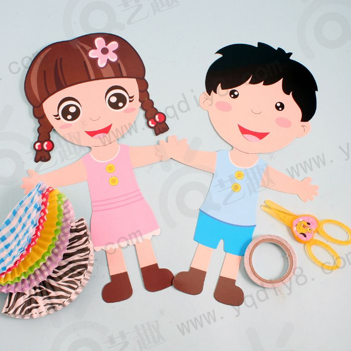 6 Pcs Children Handmade Color Paper Doll Toys Kids Child