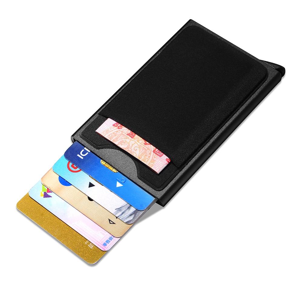 NewBring Slide Card Holder Wallet Automatic Pop-up Case With Money Pocket slide wallet