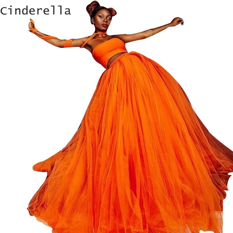 Cinderella 2 Pieces Orange Strapless Sleeveless A-Line Soft Tulle   Prom     Dresses   Side Slit Court Train Party Gowns For   Prom