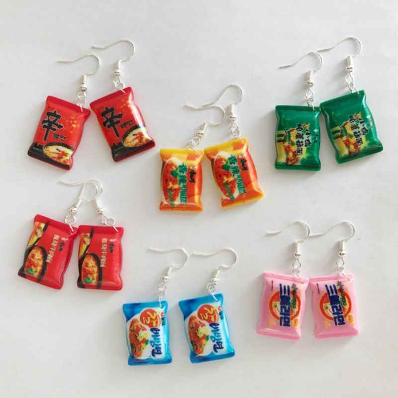 Funny Small Drop Earrings Cute Simulation Instant Noodle Chili Food Leisure Fashion Jewelry