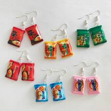 Funny Small Drop Earrings Cute Simulation Instant Noodle Chili Food Leisure Fashion Jewelry(China)